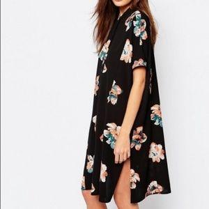 Vila Printed Floral Shirt Dress With Side Slits